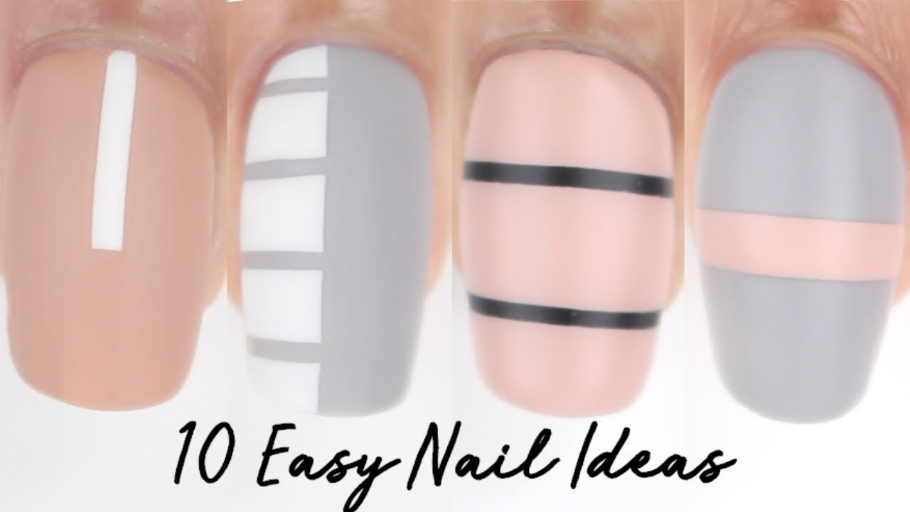 10 easy nail ideas! basic lines nail art compilation