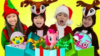 Download Wendy Emma Jannie & Lyndon Pretend Play Saving Christmas Morning & Presents for Kids Mp3 and Videos