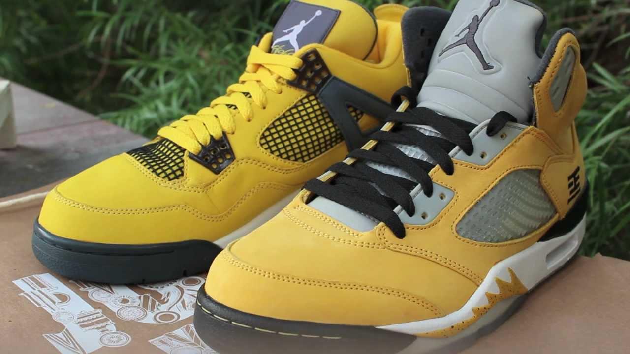 Nike Air Jordan 5 Tokyo/ Jordan 4 Lightning Comparison [HD ...