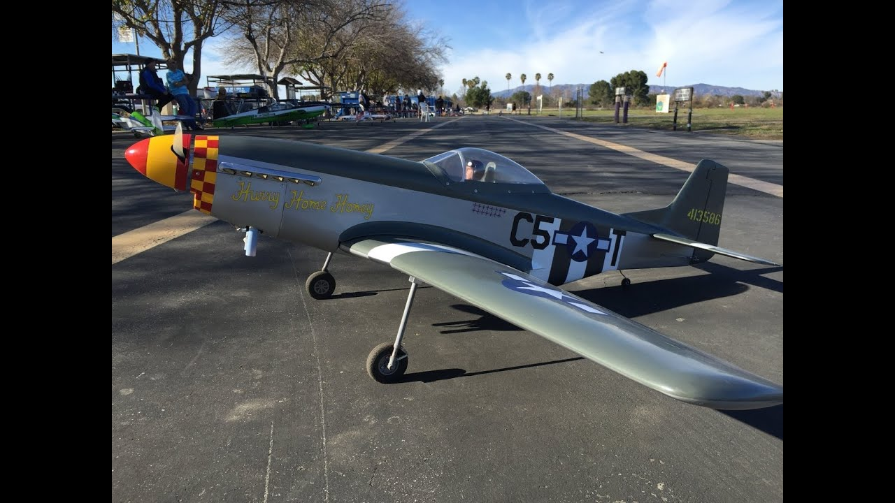 100MPh P-51 Mustang RC Warbird Aircraft Flight