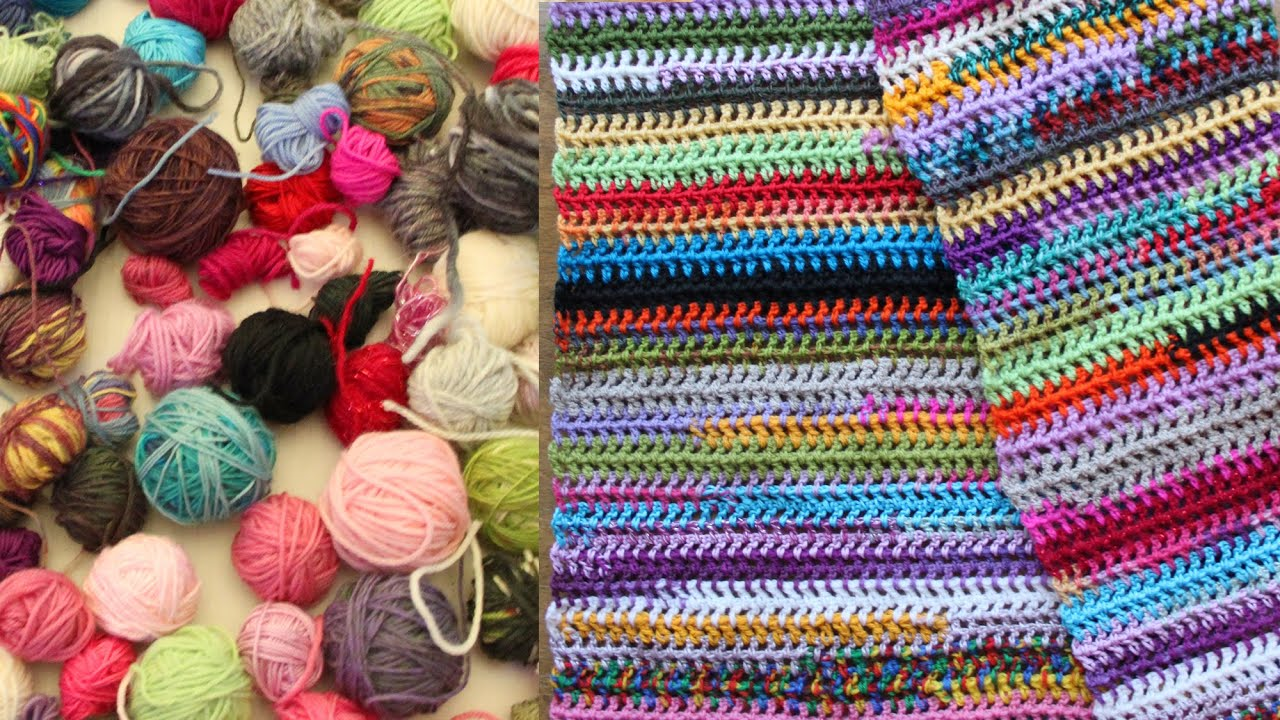 Easy scrap yarn scarf or blanket, crochet tutorial - YouTube