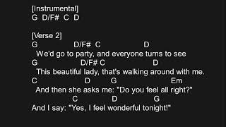 WONDERFUL TONIGHT-ERIC CLAPTON(CHORDS AND LYRICS)