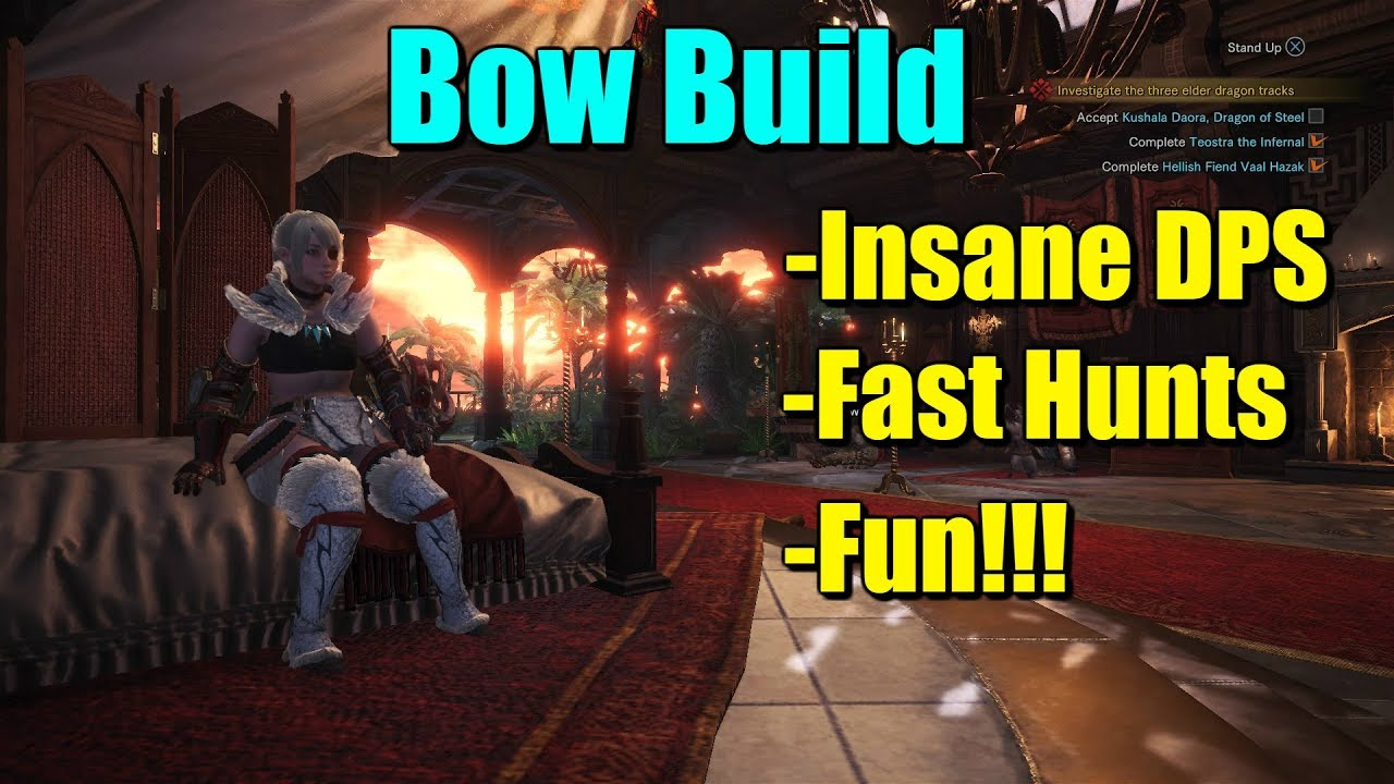 Monster Hunter World Bow Build Insane Dps Survivability And Fun