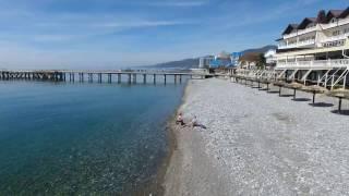 Лазаревское курорт центральный пляж 05.04.2017 (4К полный экран)