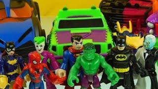SUPERMAN HULK SPIDERMAN BATMAN who has the coolest vehicle imaginext playing with toys