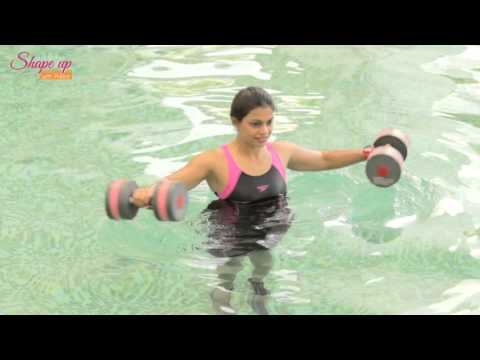 Aqua Aerobics Exercises - say goodbye to love handles with water dumbbell workout routine