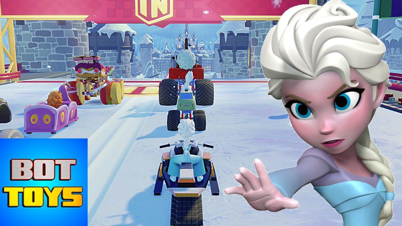 Caricaturas De Disney En Español Elsa De Frozen A La Carrera En