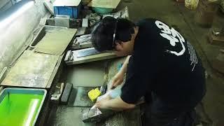 【製造者本人登場シリーズ】<柳刃包丁(正夫)の研ぎ>松尾翼さん(松尾刃物製作所・堺)の実演。 How to sharpen Yanagiba (sashimi) chef knives.