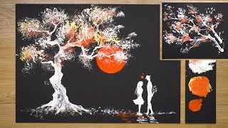 Aluminum Foil Painting Technique / How to draw Romantic Couple beside tree / Art Hacks