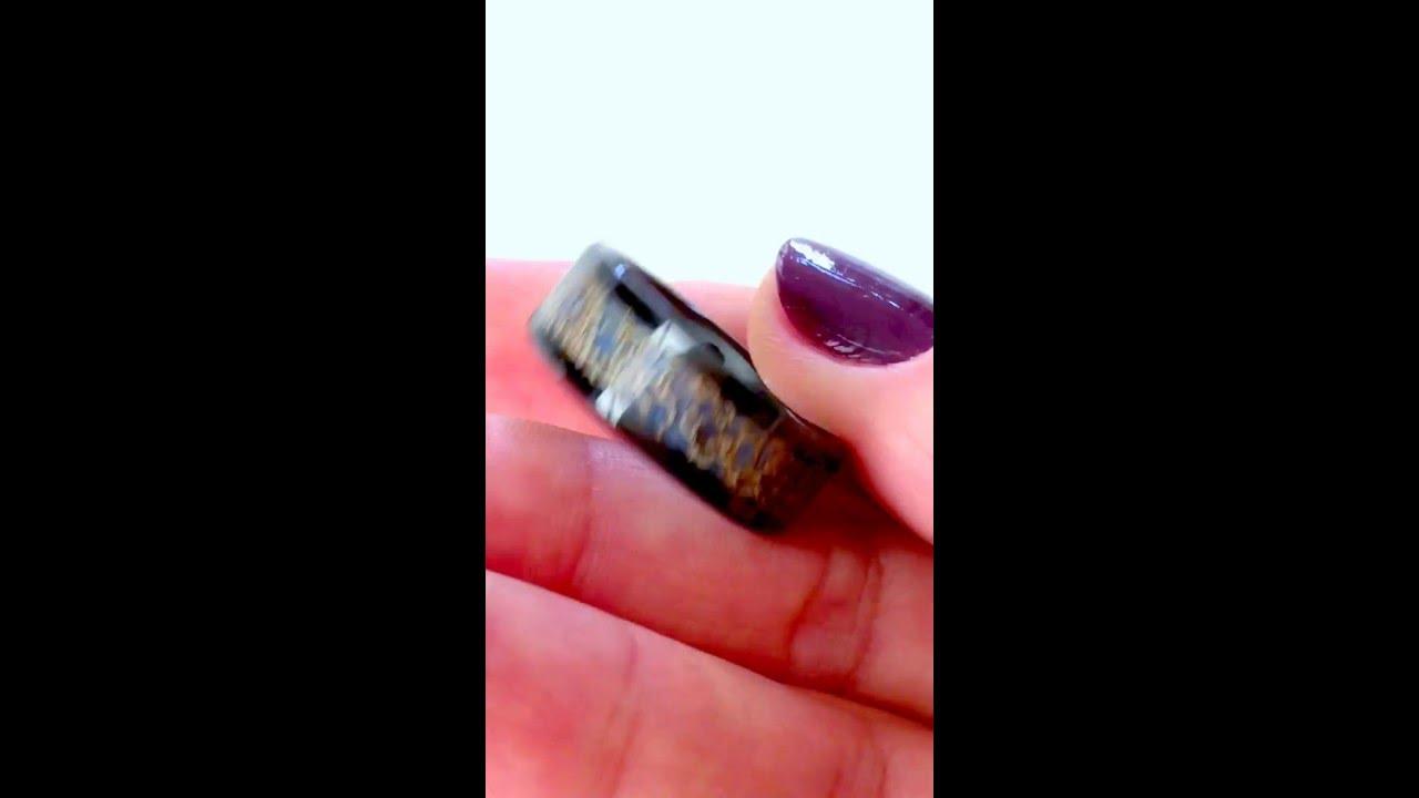 Mens Wedding Band, Ring, Unique Wedding Ring ,blue Dinosaur Bone Inlaid  Black Ceramic Ring