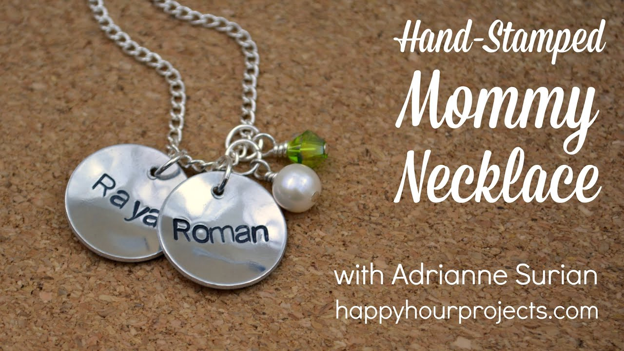 How to make a hand stamped mommy necklace youtube mozeypictures Gallery