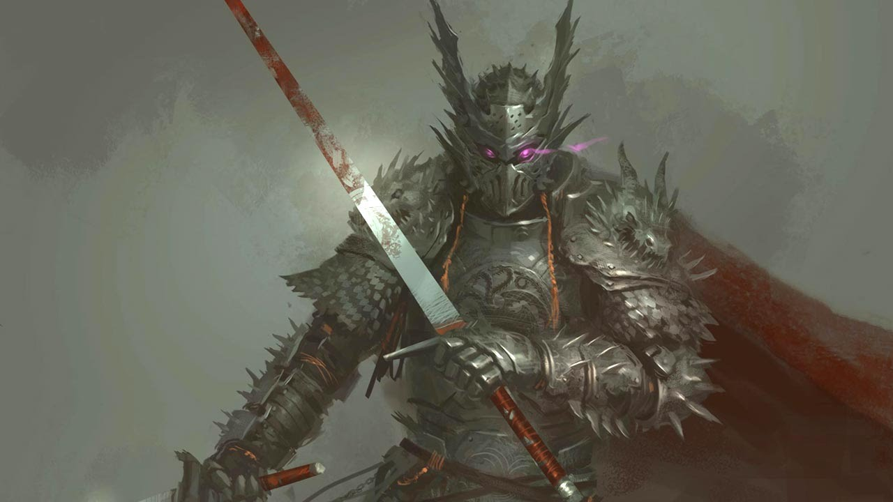 knight character concept art painting process time lapse