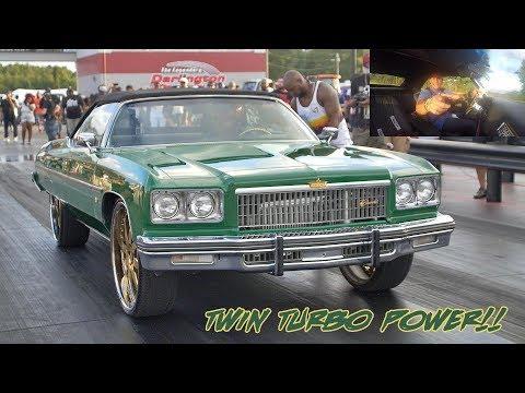 CORTLAND FINNEGAN LSX TWIN TURBO 1975 VERT DONK ROLLING OUT ON LOW BOOST!!