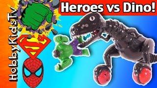 Zoomer Dinosaur Vs SUPER HEROES! Hulk Spiderman Superman Review and Play by HobbyKidsTV