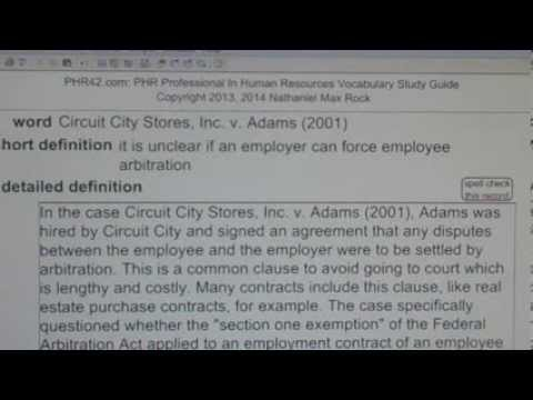 Circuit City Stores, Inc. v. Adams (2001) PHR SPHR Human Resources License Exam VocabUBee.com