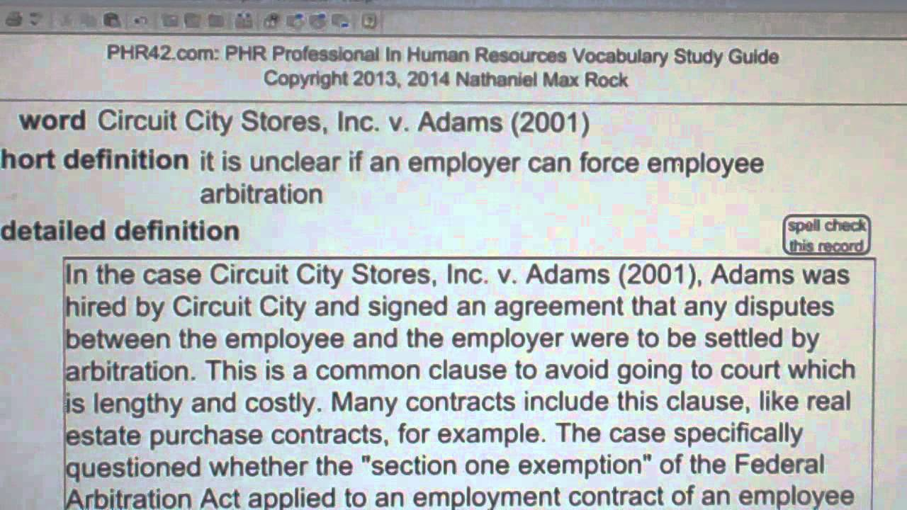 adam vs circuit city dispute Circuit city stores, inc v adams, 532 us 105 (2001), was a united states  supreme court  signed an employment application with circuit city a provision  in adams' application required all employment disputes to be settled by  arbitration.