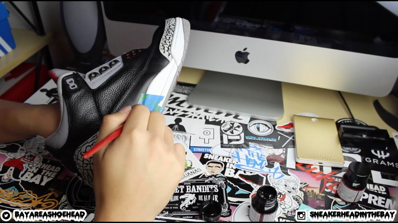 1bf2d1960b549b 2011 Air Jordan Black Cement 3 (Full Restoration) - YouTube