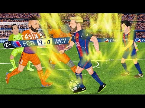 Parodia animada del Barcelona 4-0 Manchester City de Champions League 19/10/16