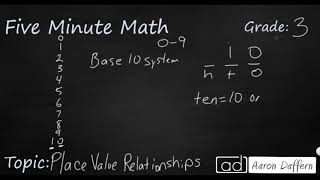 3rd Grade Math Place Value Relationships