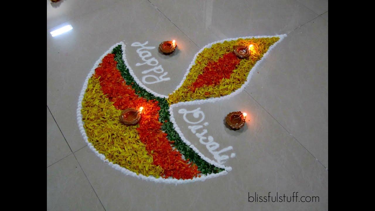 Diwali Special - Diya Rangoli Design with marigold flowers, How to ... for rangoli designs for diwali with diya  113cpg
