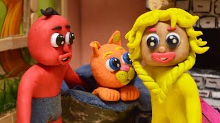 Red And Yellow Baby HAVE NEW KITTY - Animation Play Doh Cartoons