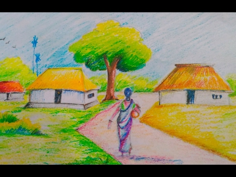 How To Draw A Beautiful Village Scenery For Kids Easy Drawing