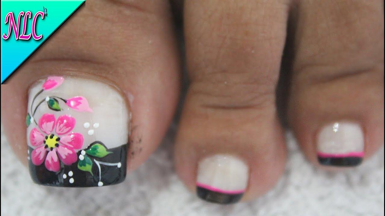 Diseño De Uñas Para Pies Flor Y Francés Principiantes Flower Nail Art French Nail Art Nlc