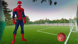 Spiderman plays football with Elsa and Anna