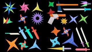 20 Easy Origami Ninja Star/Sword/Knife/gun -  How to make
