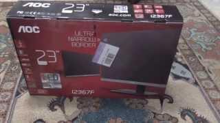 aoc 23 ips led hd monitor black silver unboxing