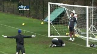 SKILLS Joe Hart Overhead Kick Goal -- Inside Training at Manchester City FC