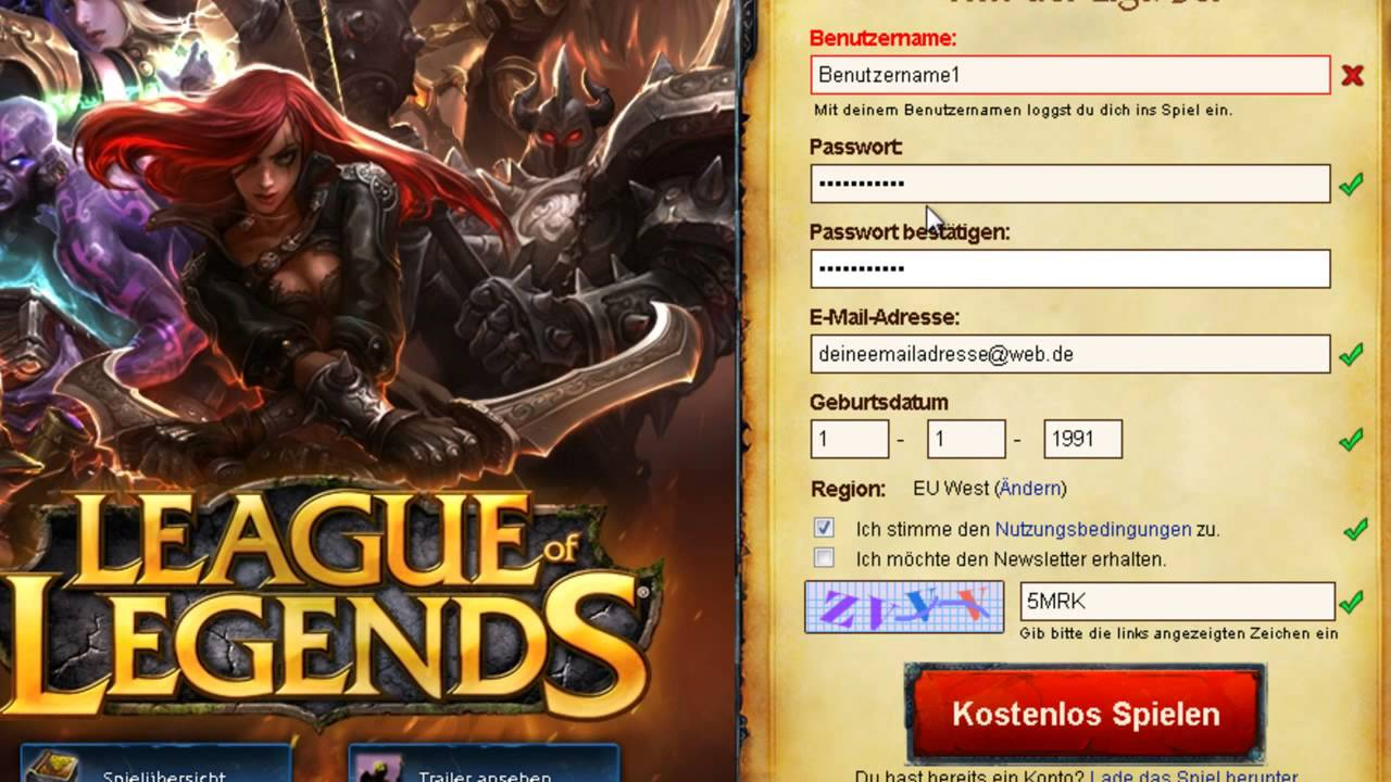 League Of Legends Registrieren Deutsch