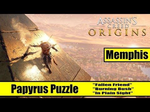 Assassin's Creed Origins: Memphis papyrus puzzle solutions