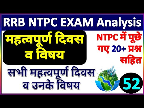 RRB NTPC Analysis Today |Important Days And Theme 2020 | Days And Theme NTPC |महत्वपूर्ण दिवस व विषय