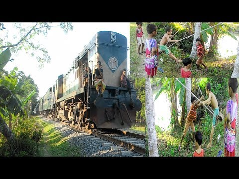 Traditional Village Games For Children | Funny Village Kids Playing Game In The side Of Train Line