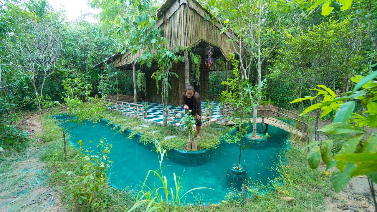 Girl Living Off the Grid, Builds The Most Beautiful Bamboo House