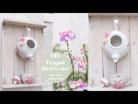 DIY Teapot bird feeder from recycled pallet wood