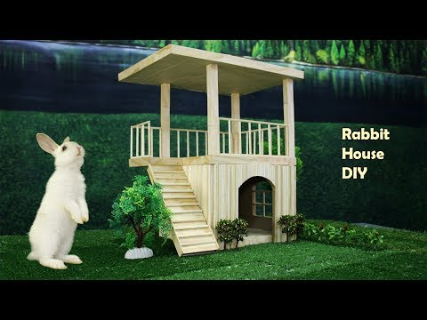 How to make popsicle & bamboo stick house for rabbit
