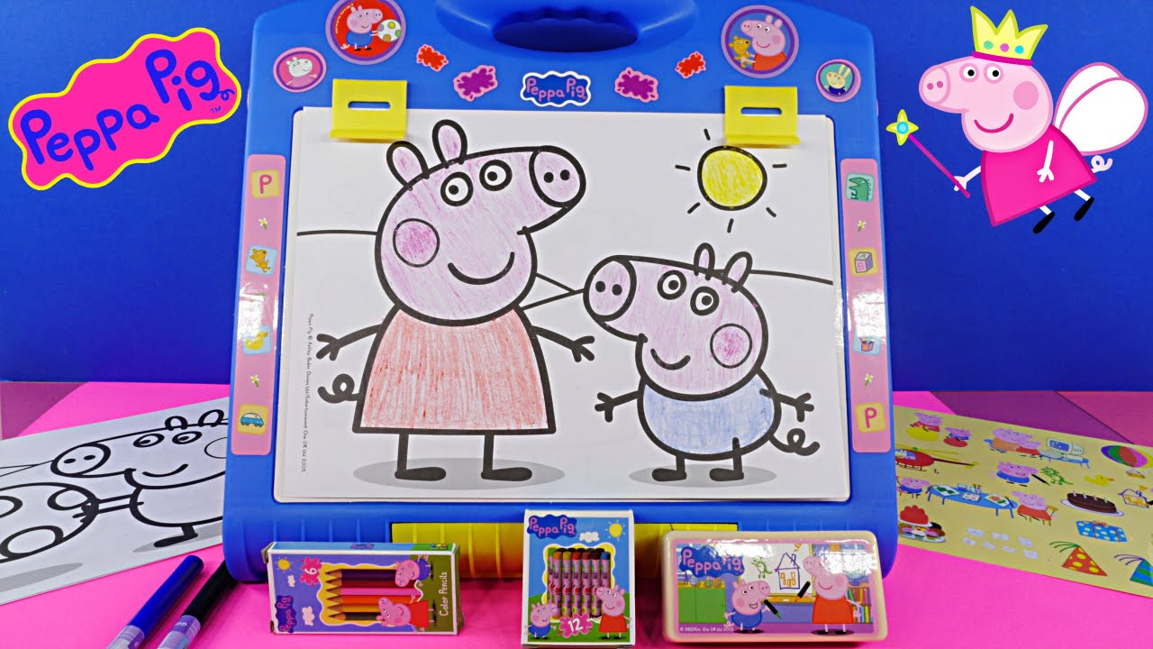 Peppa Pig Table Top Easel Activity Set Peppapig Chalkboard Coloring ...