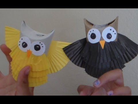 How to make owl puppets reusing toilet paper tubes youtube for Toilet paper tube owls