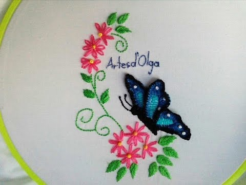 3D Butterfly Embroidery Mariposa bordada en 3D Hand Embroidery Tutorial by Artesd&39;Olga