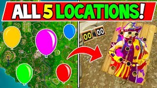 "ALL 5 Carnival Clown Boards LOCATIONS ""Get a score of 10 on different Clown Boards"" Fortnite WEEK 9"