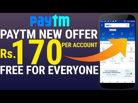 Paytm Latest Offer - Paytm 170 Free Cashback Offer !! Paytm Free 170 !! Paytm 170 Cashback ,Paytm