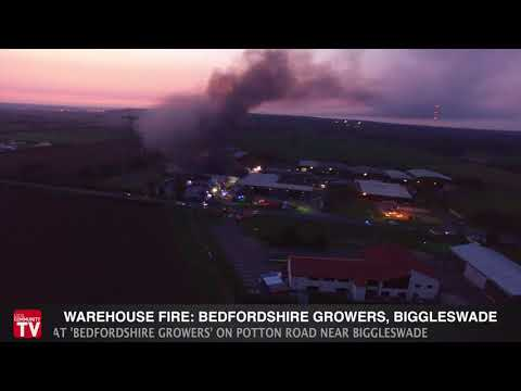 Warehouse Fire in Bedfordshire Captured by Drone