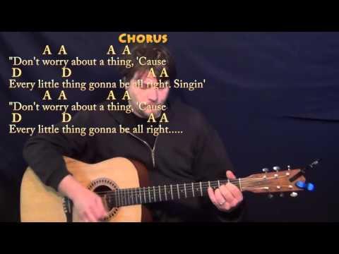 Three Little Birds (Bob Marley) Guitar Lesson Chord Chart - A D E