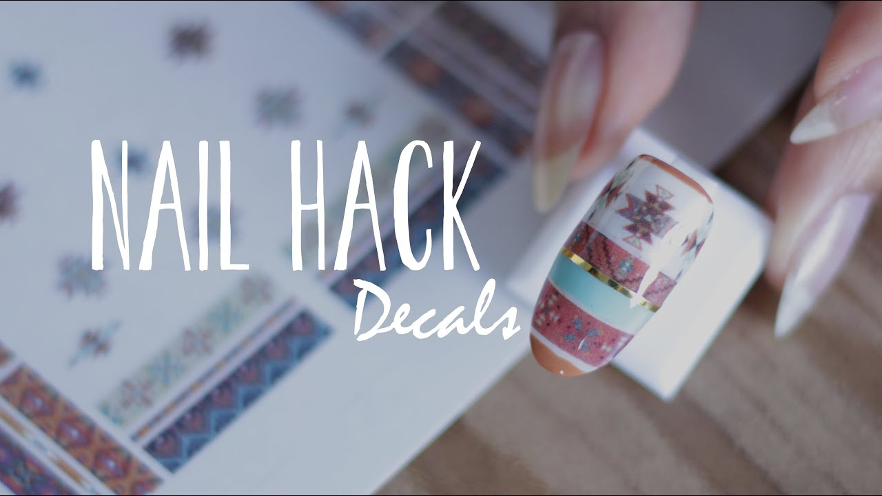 DIY NAIL HACK | Nail Decals + Navajo Print Nails - YouTube