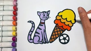 How To Draw Cat And Ice Cream || Draw For Kids
