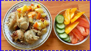 Курица тушеная в собственном соку с картофелем в духовке