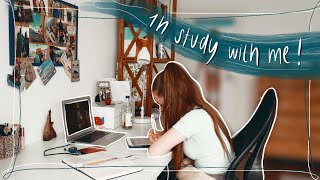1 h real time study with me    cozy background noise, rain and thunder sounds, no music 🌧