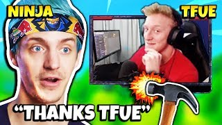 NINJA REACTS TO TFUE HIS GAME BREAKING BUILDING GLITCH | Fortnite Daily Funny Moments Ep.223